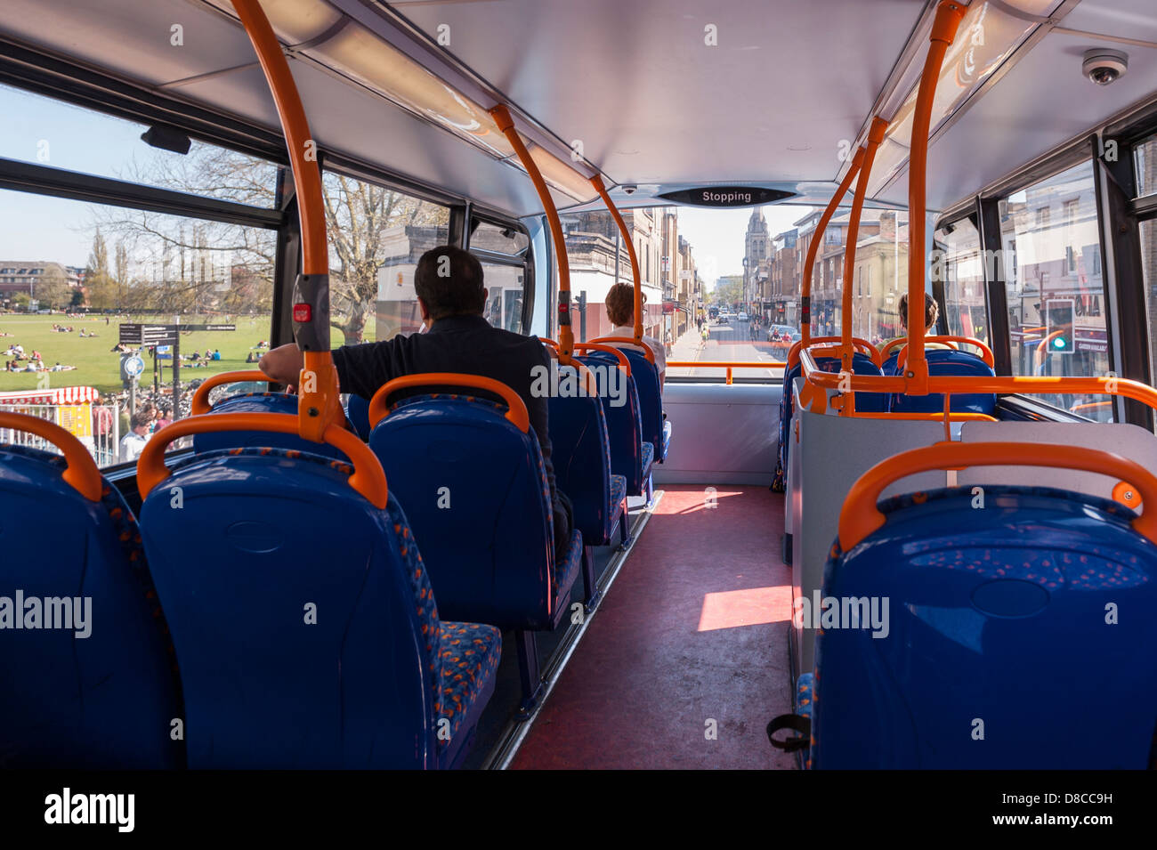 Inside a double decker bus in Cambridge, England, Britain ...