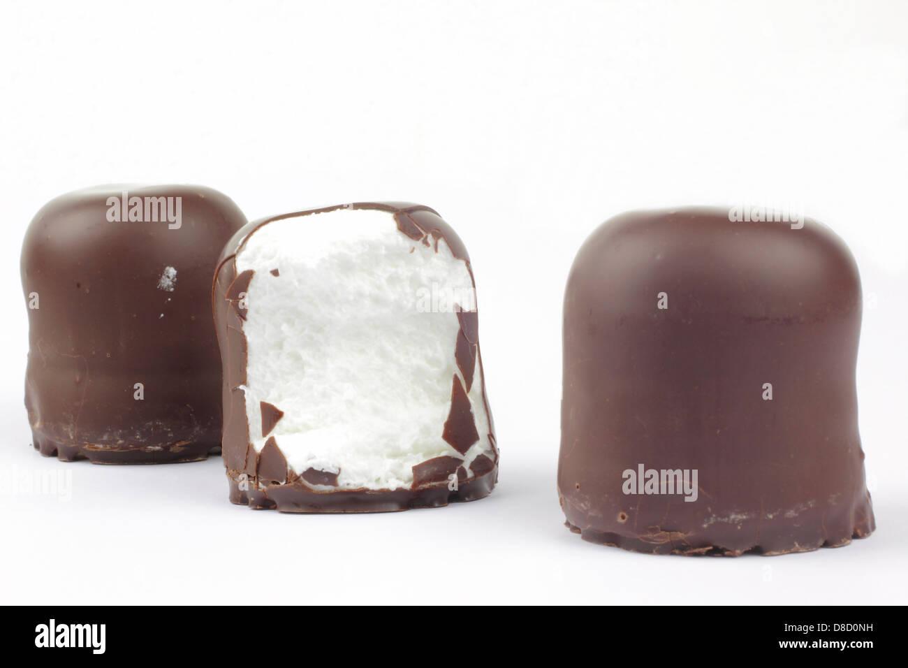 chocolate covered marshmallows .german schokokuss Stock Photo ...