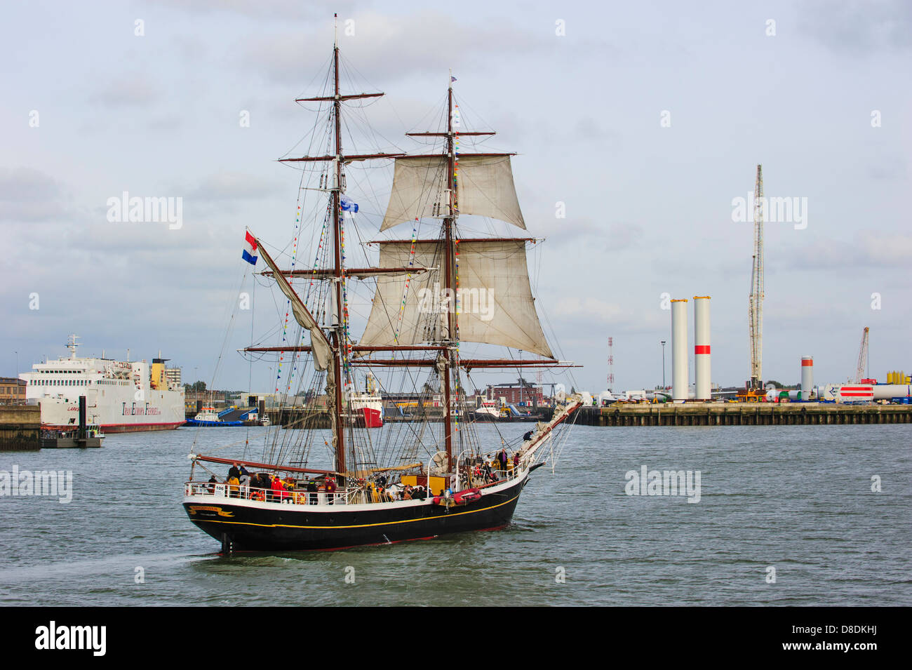 two master sailing ship morgenster during the maritime festival stock photo two master sailing ship morgenster during the maritime festival oostende voor anker ostend at anchor 2013 belgium