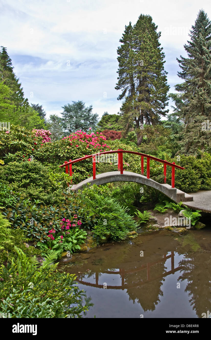 Japanese Garden Theme Landscape Is A Japanese Garden Theme With A Little Red Bridge
