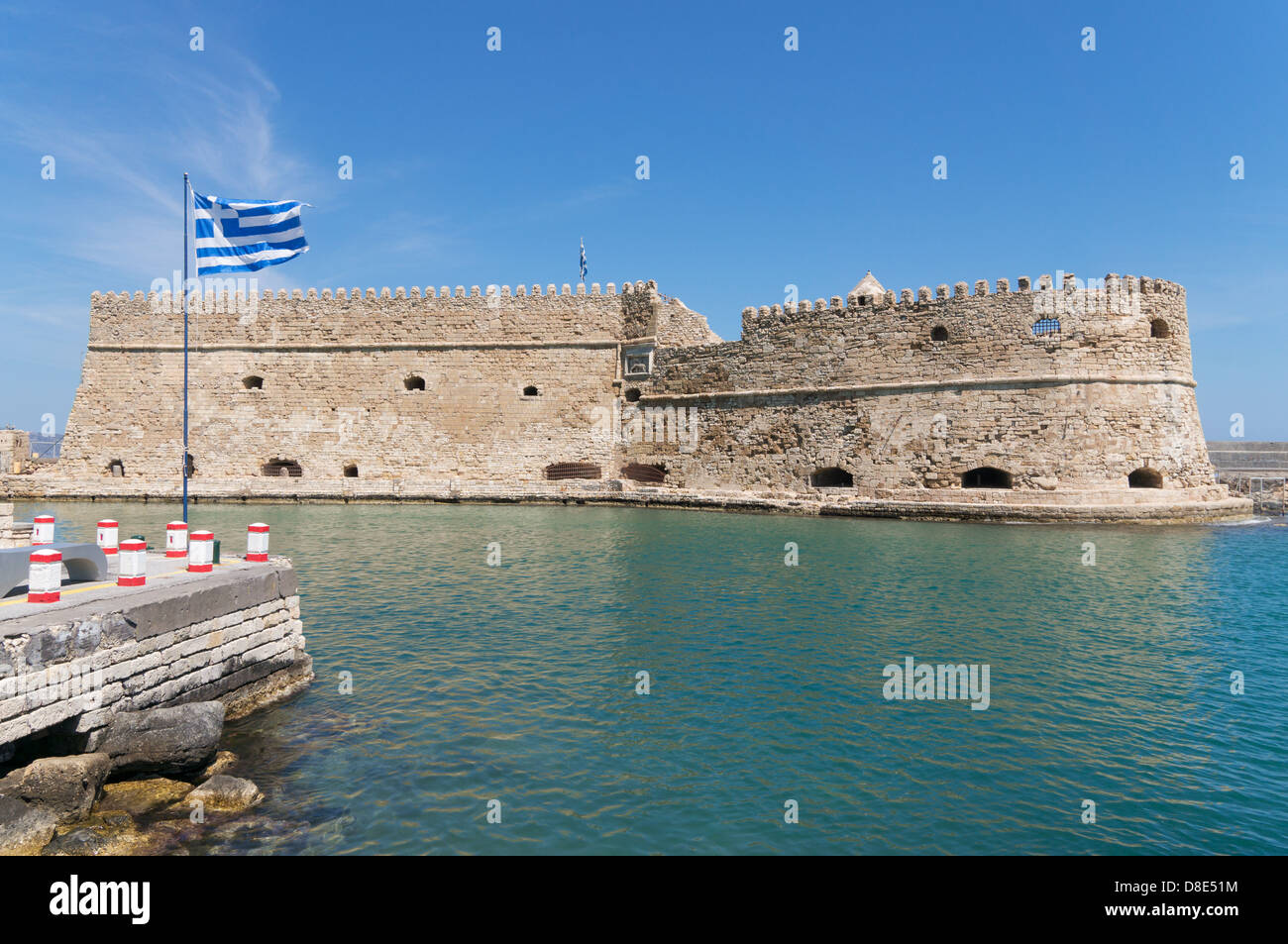 Greek flag before the the Venetian fortress of Rocca al ...