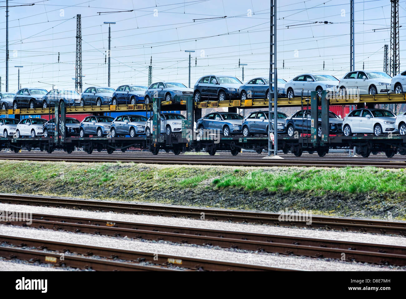 freight train with brand new cars in hamburg germany europe stock photo royalty free image. Black Bedroom Furniture Sets. Home Design Ideas