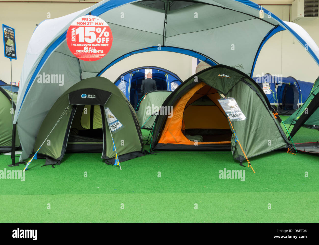 Tent display at Go Outdoors store England UK & Tent display at Go Outdoors store England UK Stock Photo ...