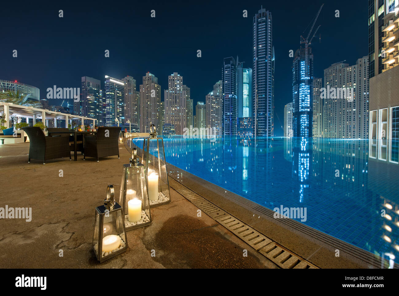 View of dubai marina from the pool bar of the address The address dubai marina swimming pool
