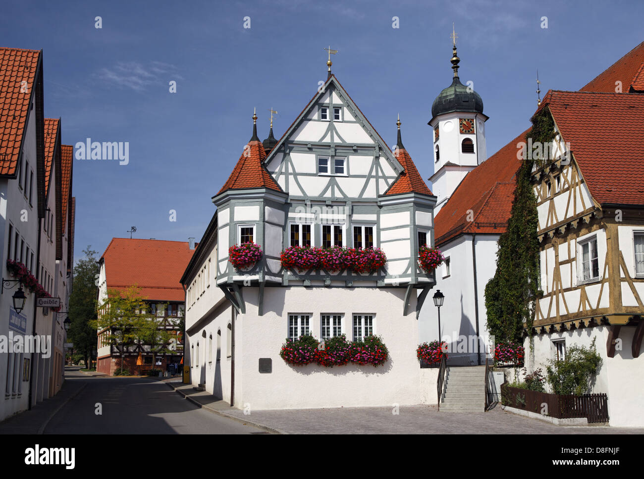 germany baden wuerttemberg hayingen city hall half timbered stock photo royalty free image. Black Bedroom Furniture Sets. Home Design Ideas