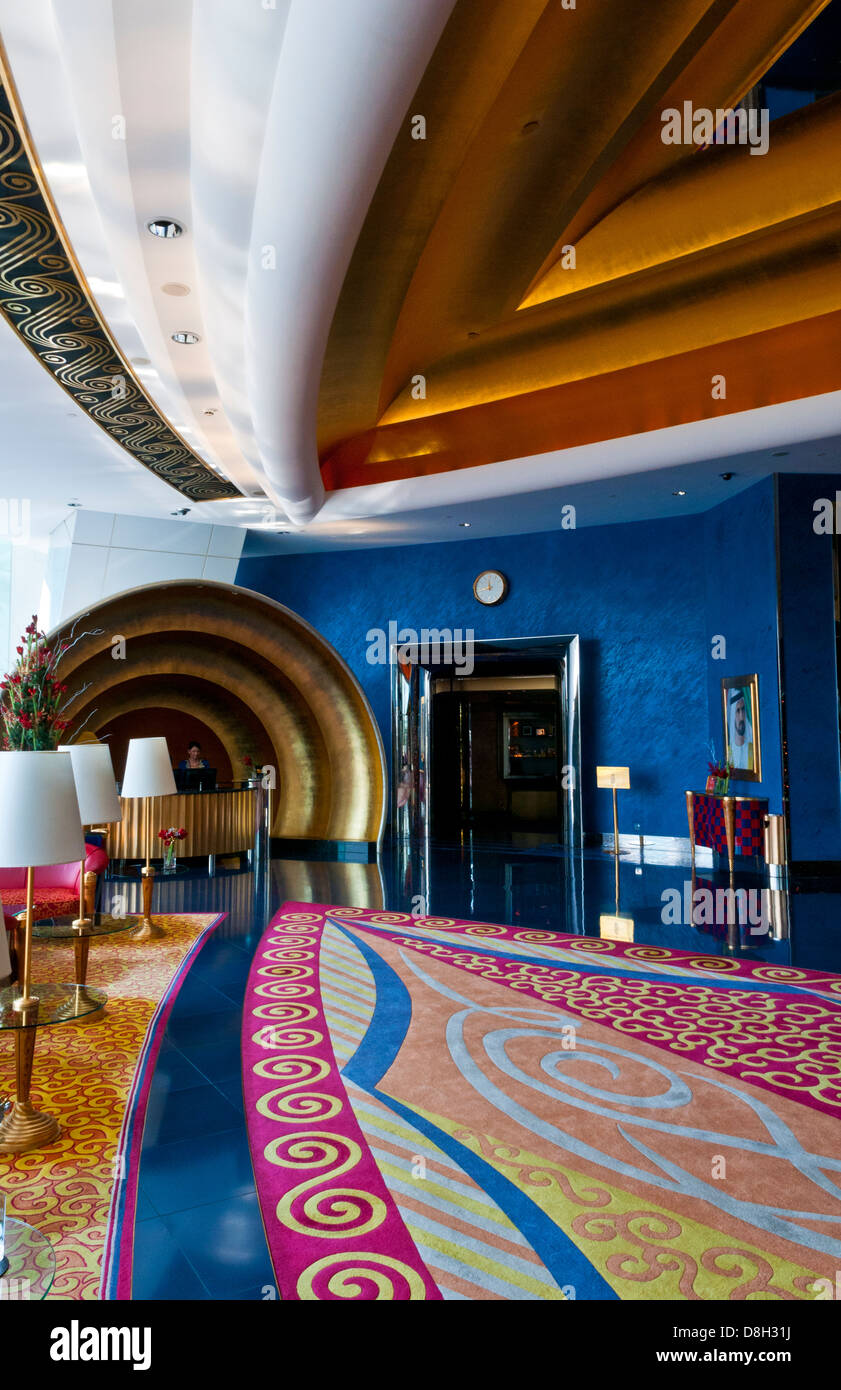 Interior of exclusive lobby in the worlds only 7 star for Dubai hotels 7 star interior
