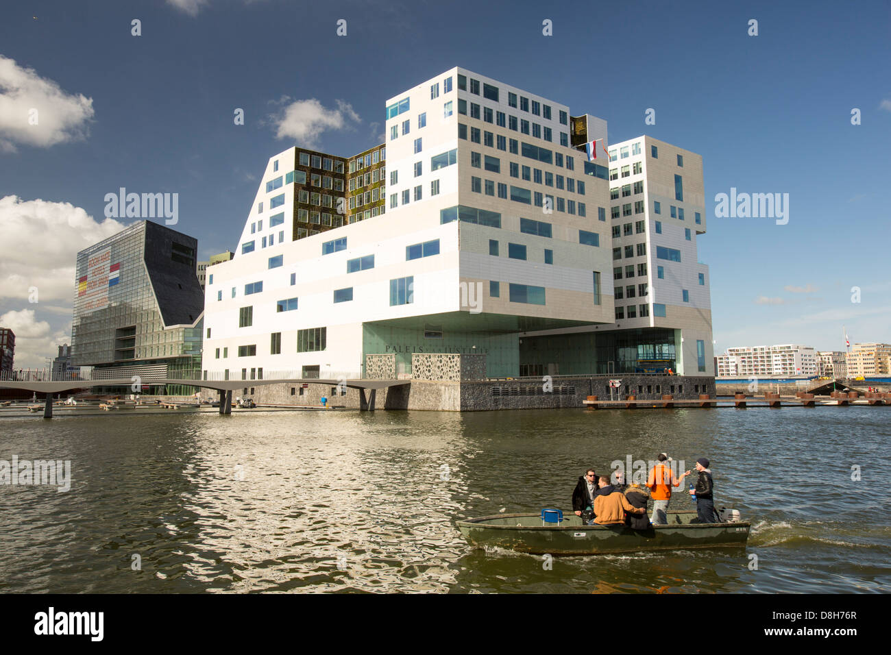 The modern Palace of Justice building in Amsterdam, Netherlands