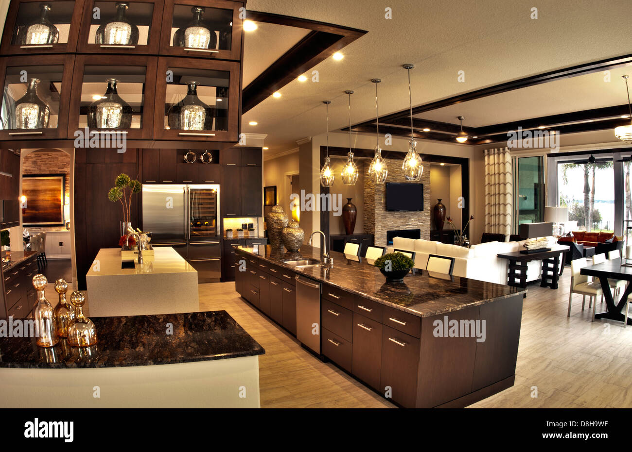 Luxury Home Worth Several Million Dollars Modern Kitchen And Living Stock Photo Royalty Free