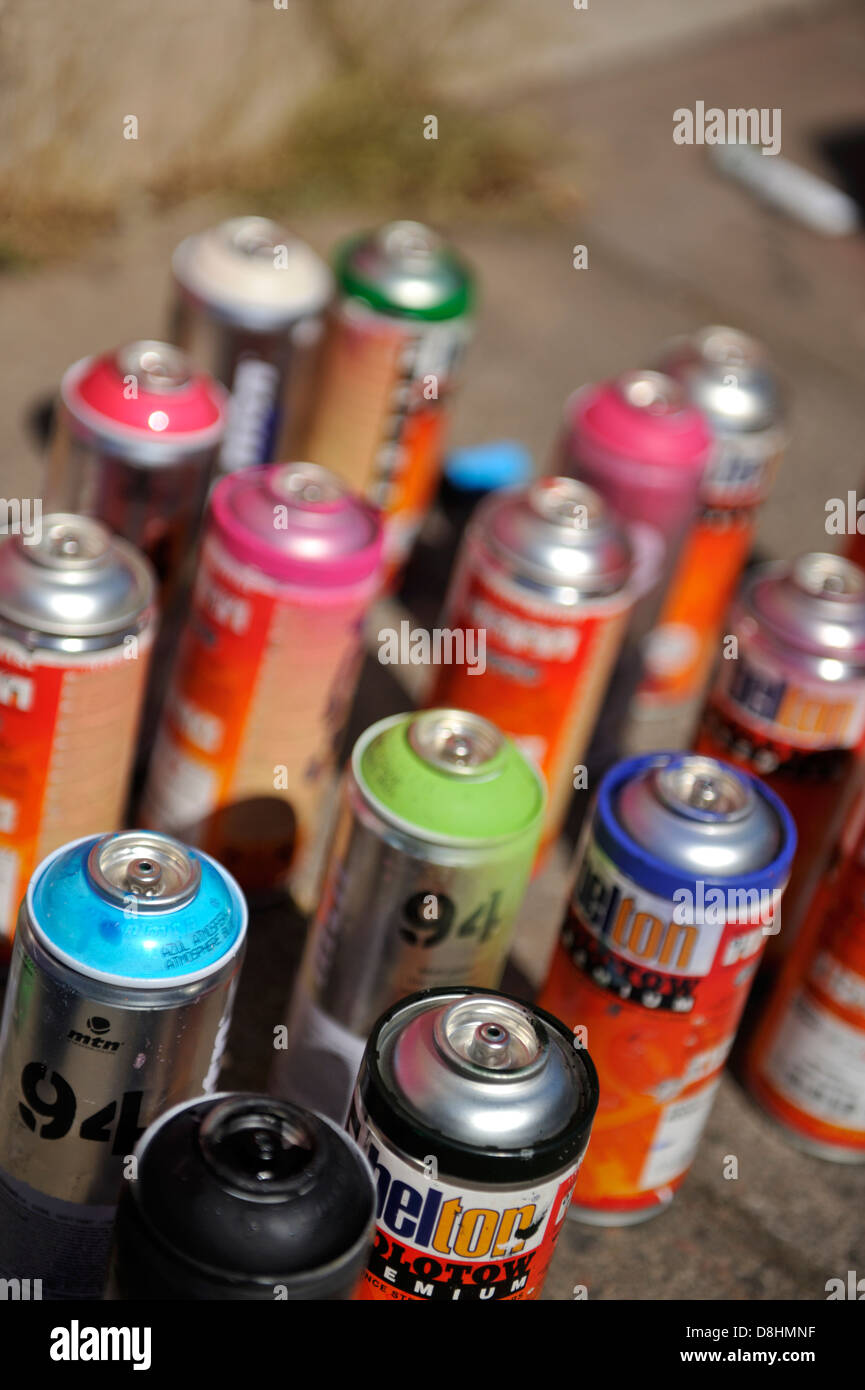 Spray Paint Cans Used For Graffiti Painting Stock Photo Royalty Free Image 56937819 Alamy