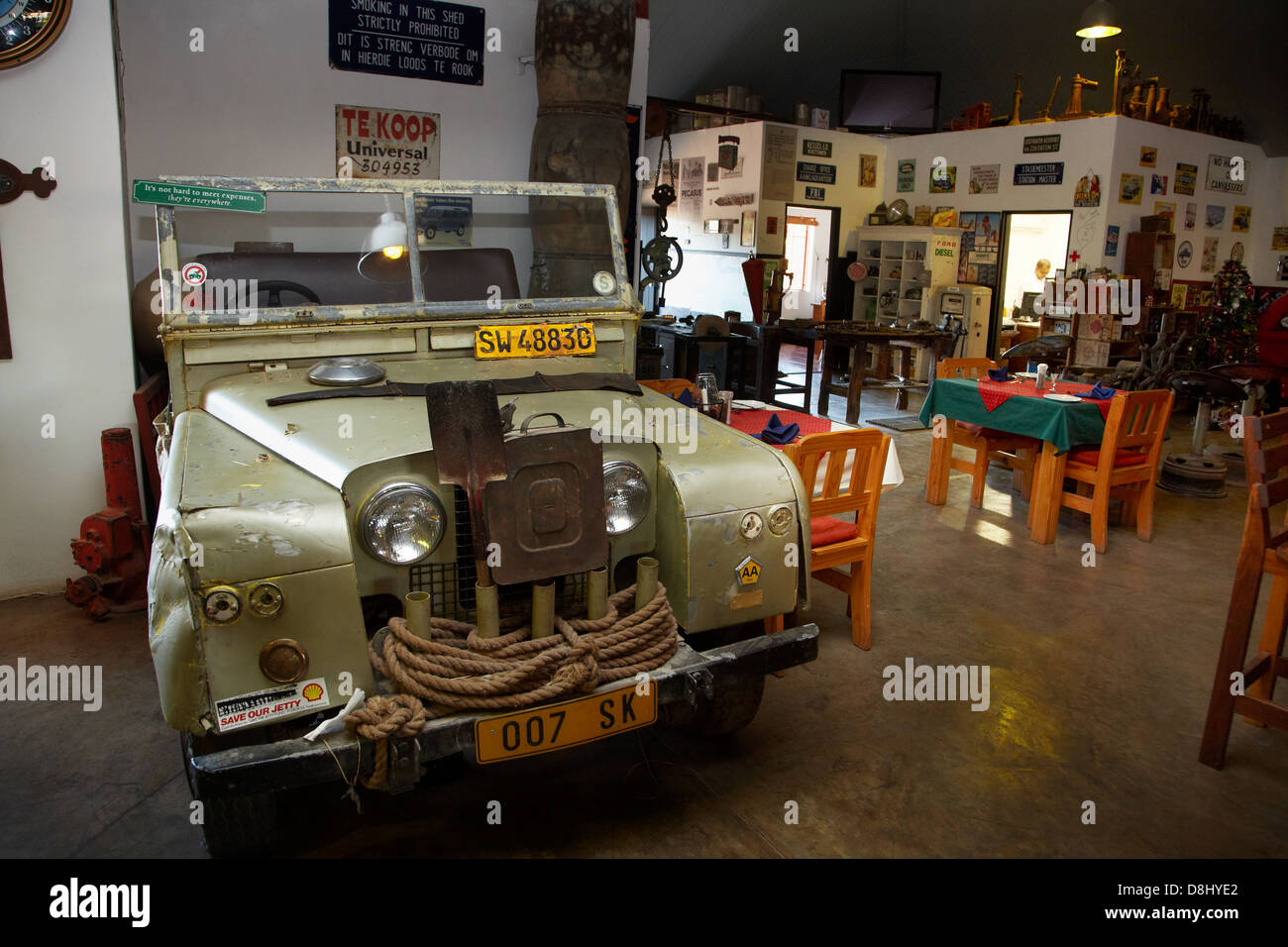 Old landrover in canon roadhouse restaurant near fish river canyon southern namibia africa