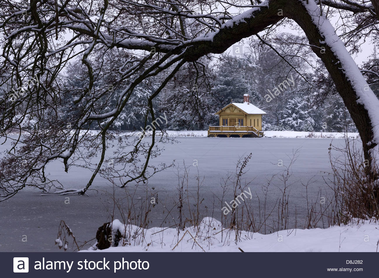 Frozen Lake Snow And Old Victorian Boathouse Lake House
