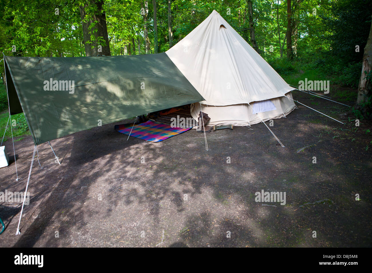 Bell tent and awning - Stock Image & Bell Tent Stock Photos u0026 Bell Tent Stock Images - Alamy