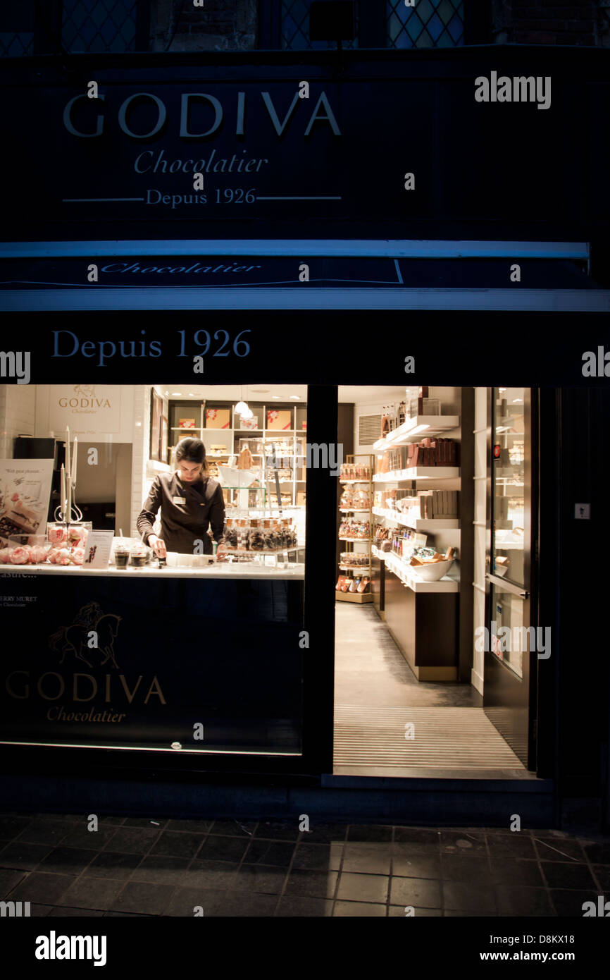 Godiva chocolate shop in front of the manneken pis in brussels ...