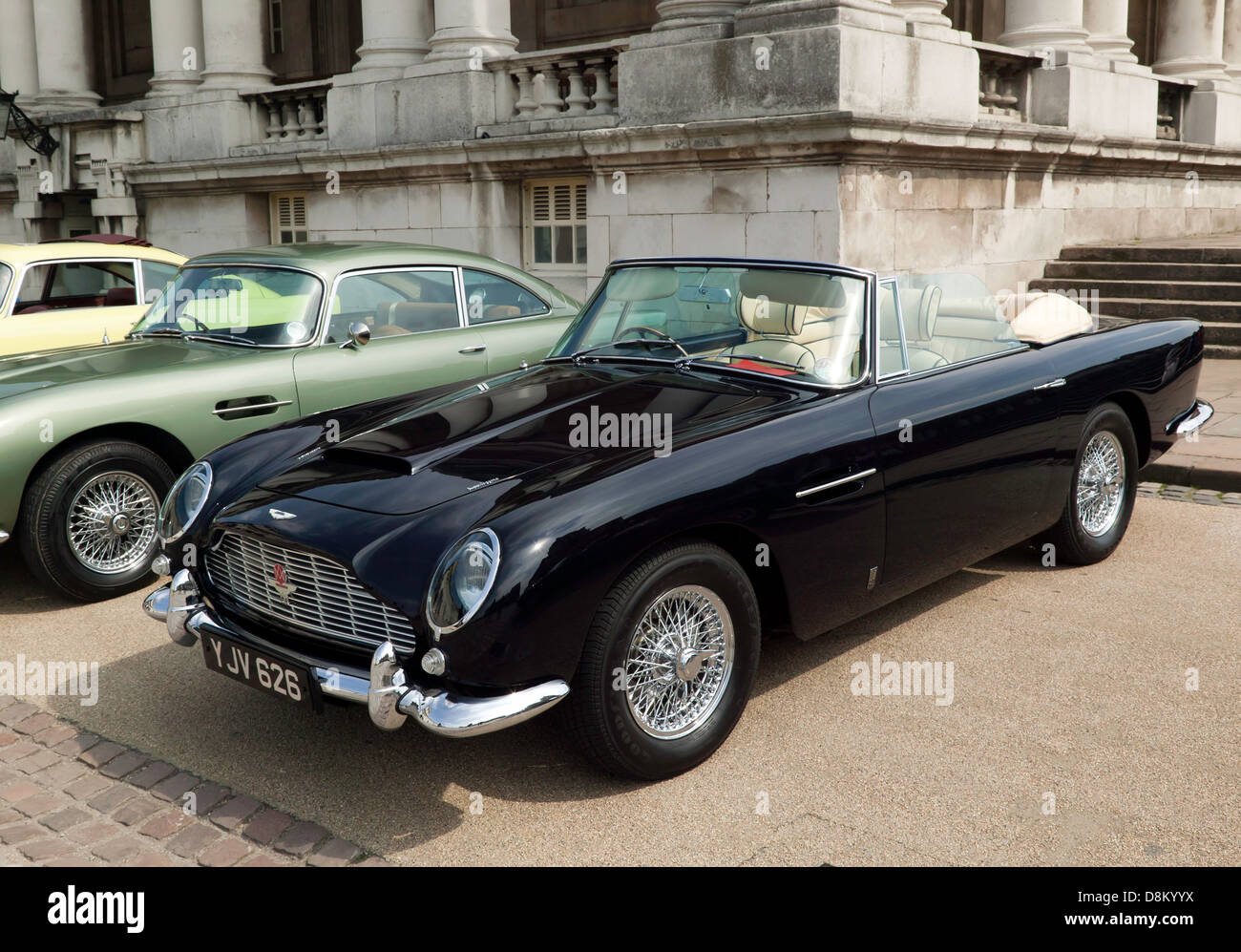 A beautiful, rare, black Aston Martin DB5 convertible on display ...