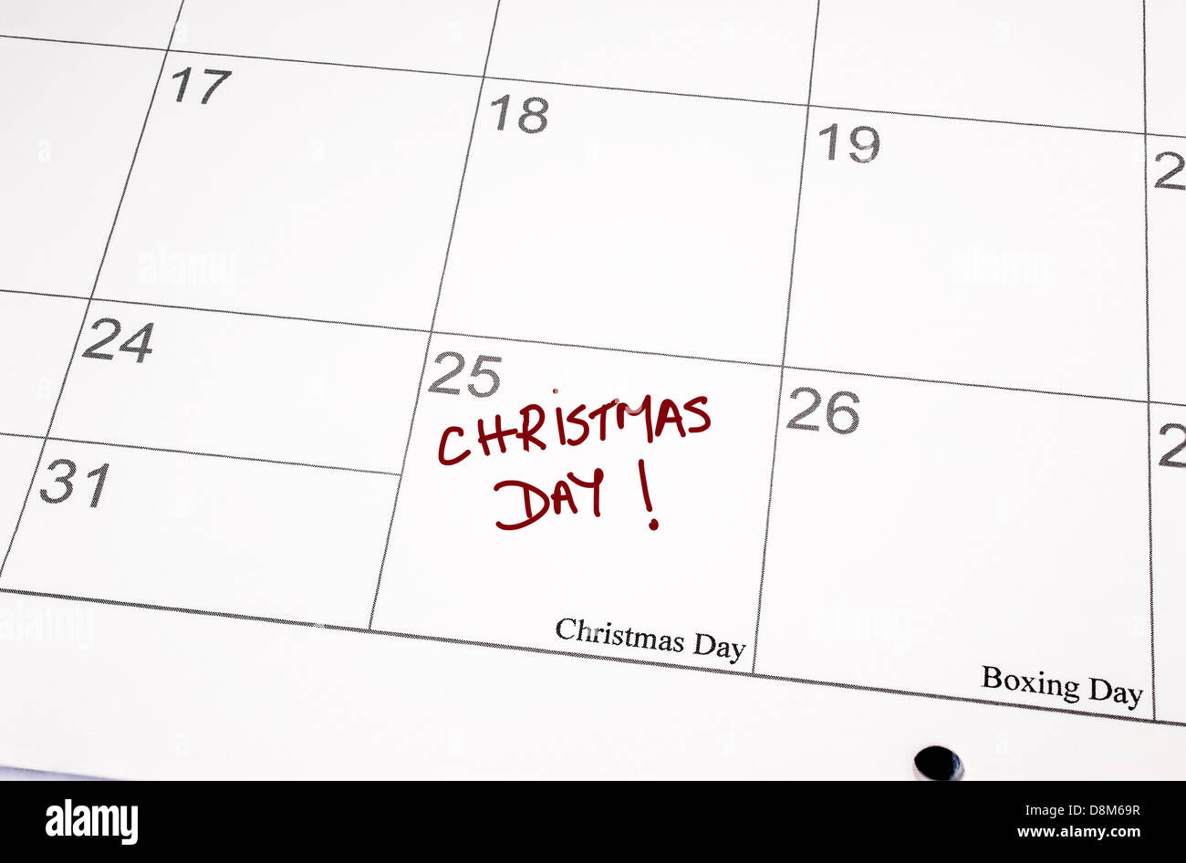 Calendar page showing Christmas Day written in the date space ...