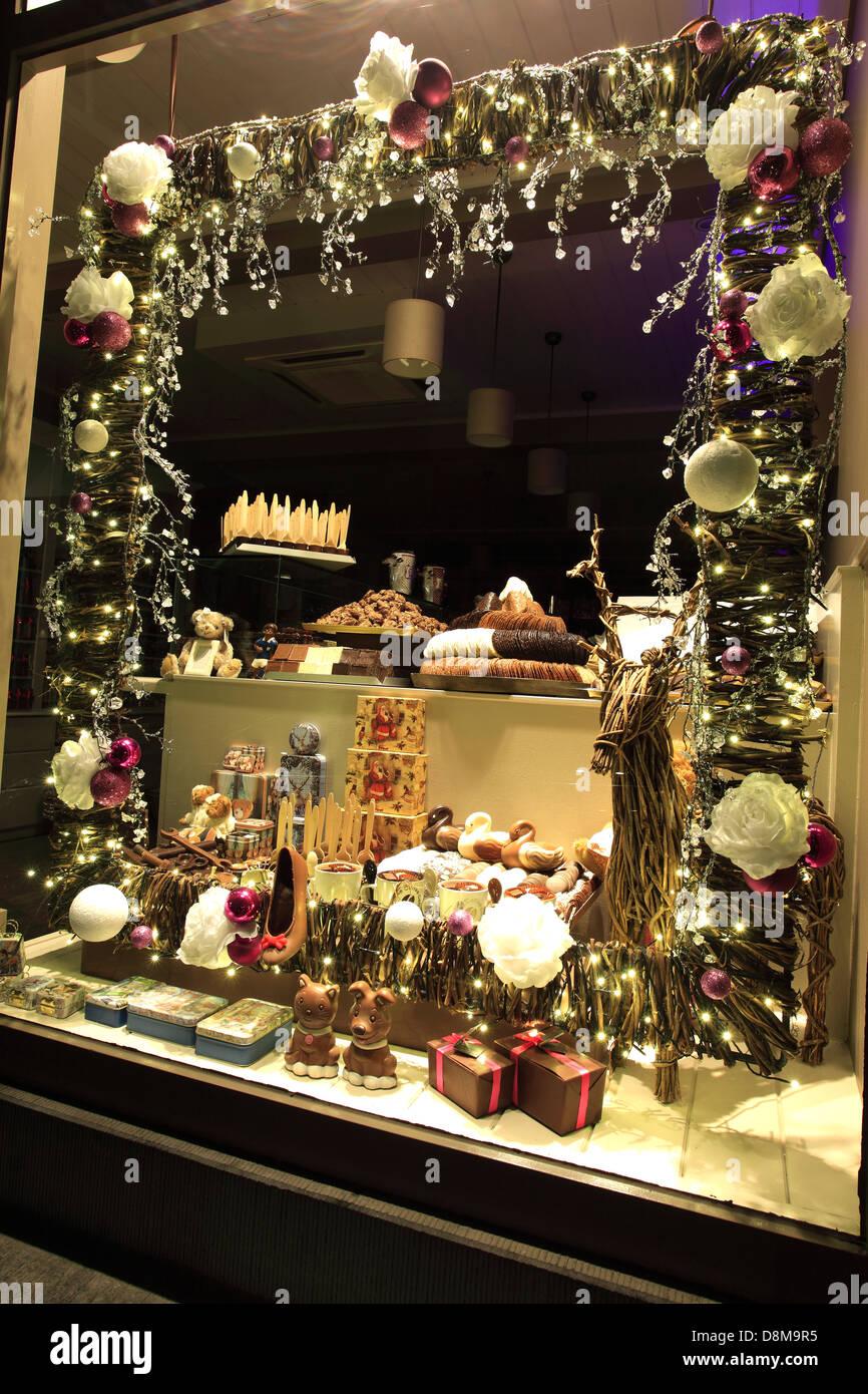 Belgium chocolate shop window display at christmas time, Market ...