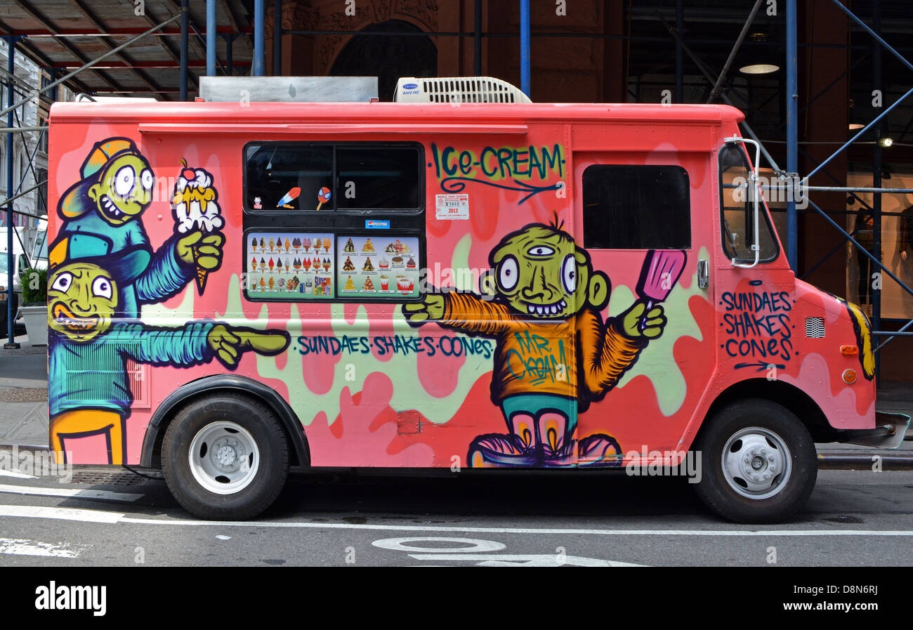 Colorful Ice Cream Truck With Graffiti Art Paintings Off Broadway In Greenwich Village New York City