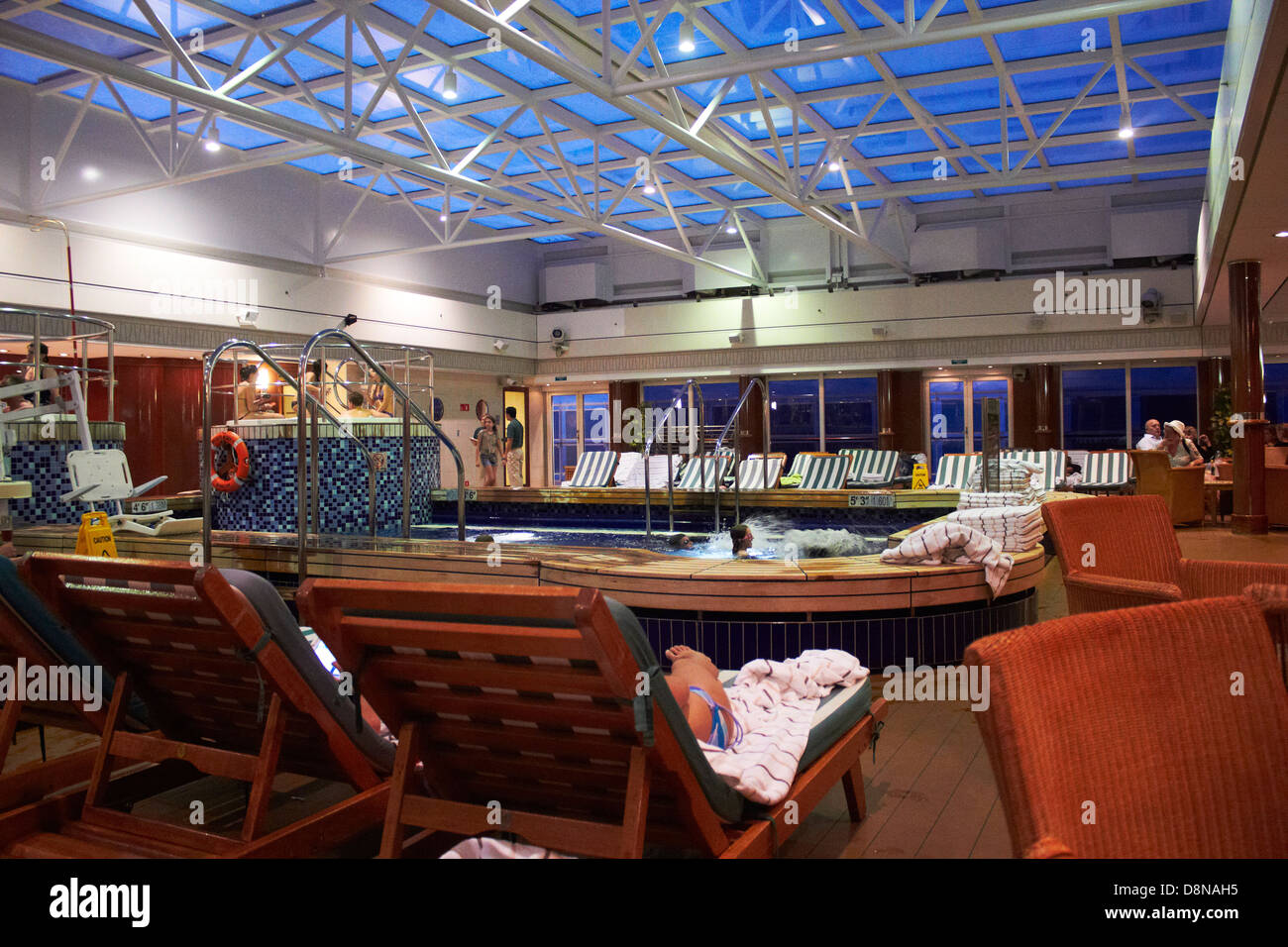 Close Up Details Of Cunard 39 S Queen Mary 2 Ocean Liner Indoor Swimming Stock Photo Royalty Free