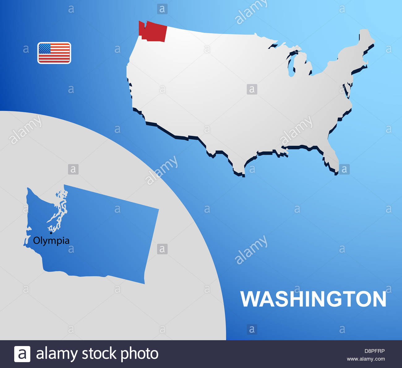 Washington On USA Map With Map Of The State Stock Photo Royalty - Washington on usa map