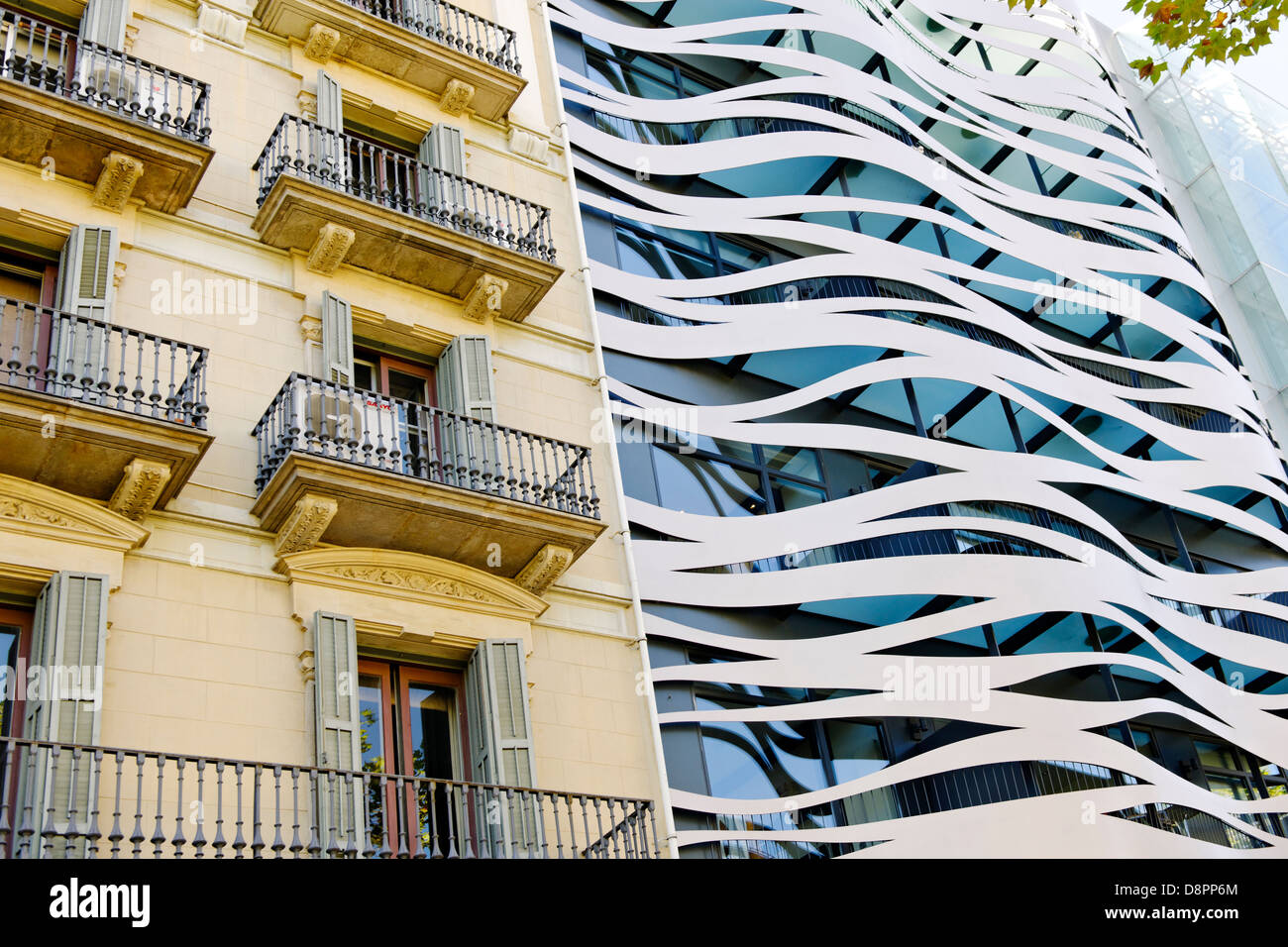 Modern Architecture Next To Classical Architecture, Facade, Barcelona, Spain