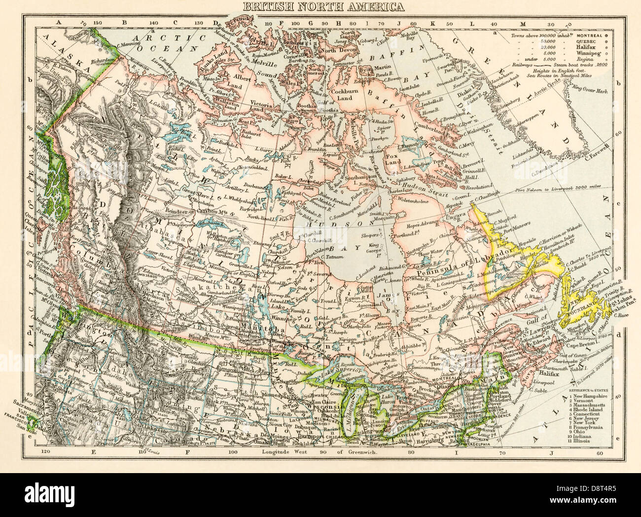 map of british north america or the dominion of canada 1870s