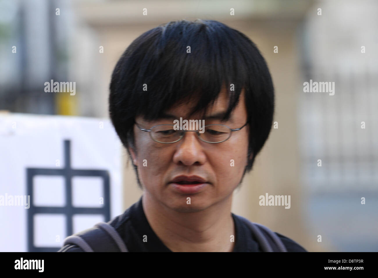 <b>Shao Jiang</b> who was a student witness of the massacre in - london-4-june-2013-shao-jiang-who-was-a-student-witness-of-the-massacre-D8TP3R