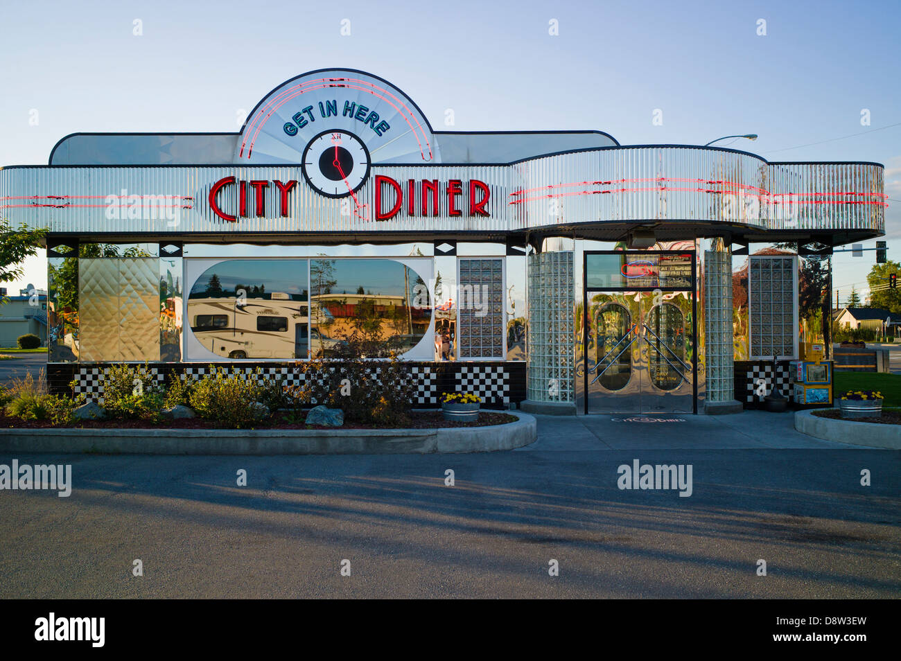 exterior view of retro design stainless steel city diner