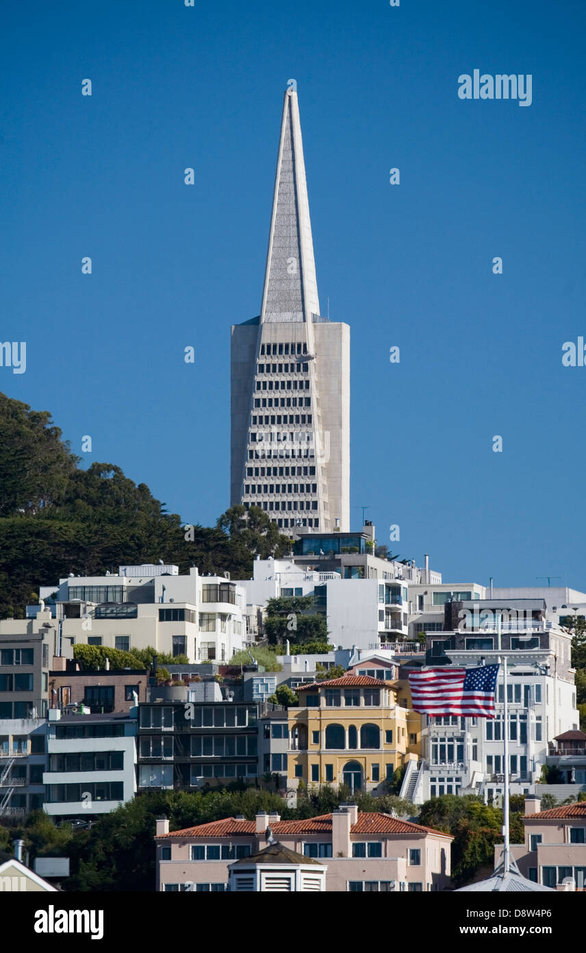 Pyramid Houses Cityscape With Top Of Transamerica Pyramid Houses And Apartments