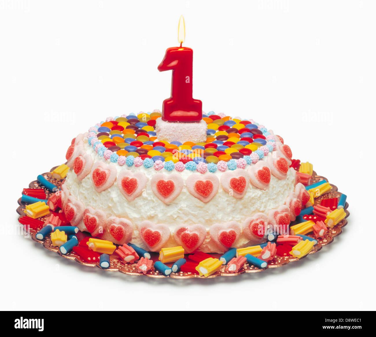 1 year old Birthday cake Stock Photo, Royalty Free Image ...
