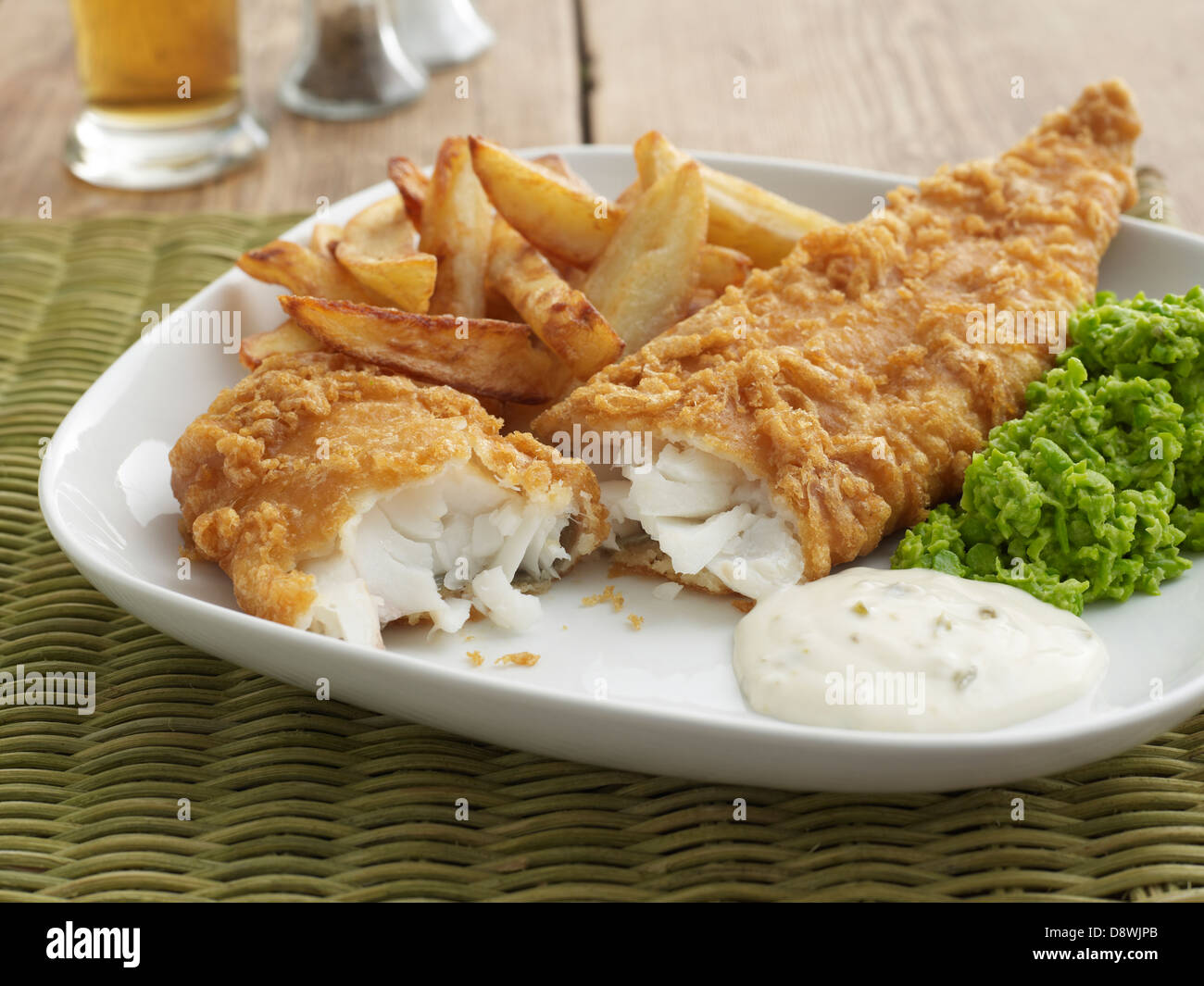 fish chips tartar sauce mushy peas dinner restaurant stock photo royalty free image 57111891. Black Bedroom Furniture Sets. Home Design Ideas