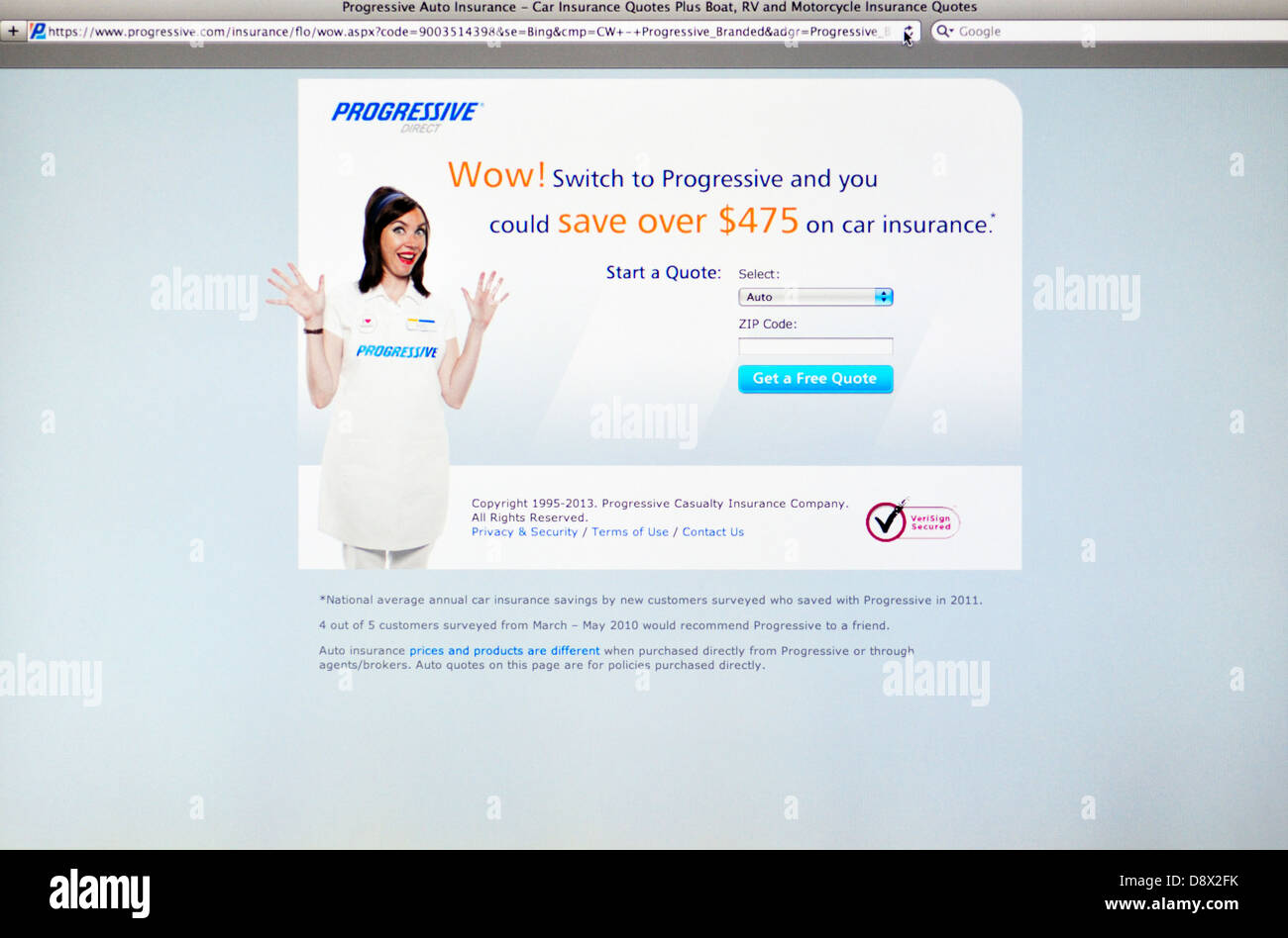 Progressive Insurance Quote Progressive Auto Insurance Website Stock Photo Royalty Free Image