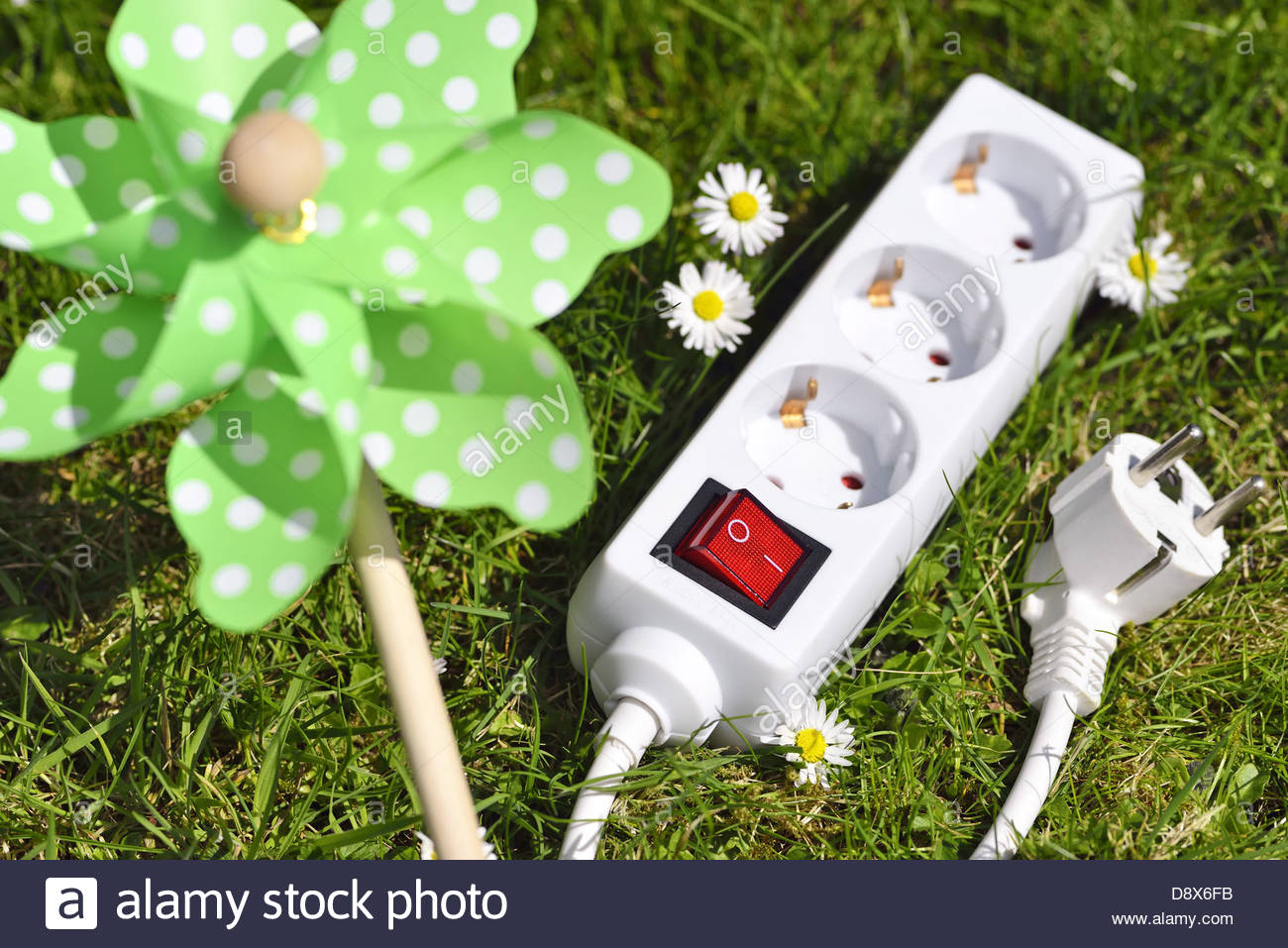 Power Outlet And Pinwheel, Green Energy