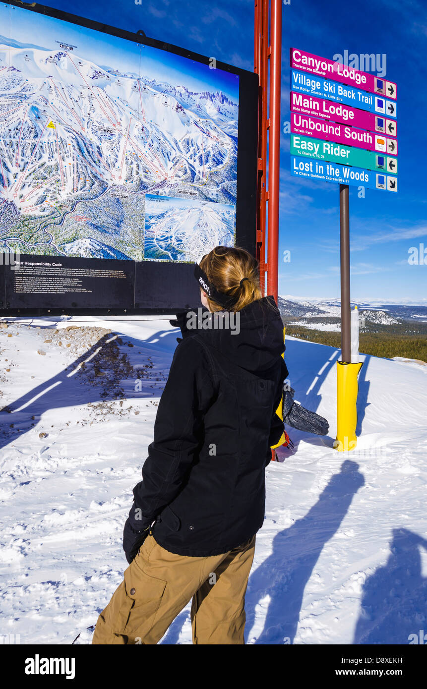 Snow Boarder And Trail Map Mammoth Mountain Ski Area Mammoth - Mammoth mountain trail map