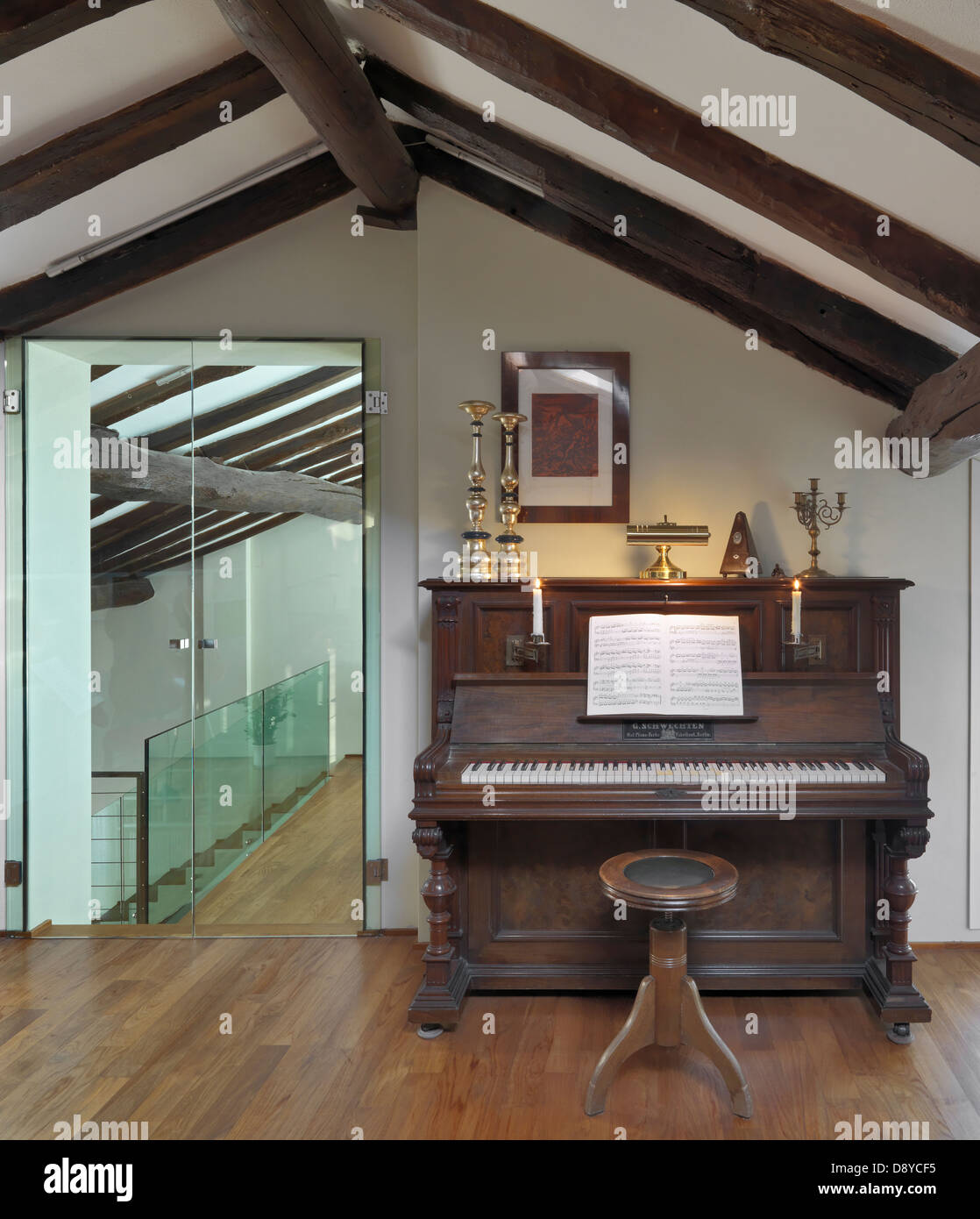 old piano in the attic with wood floor and sliding glass door & old piano in the attic with wood floor and sliding glass door ...