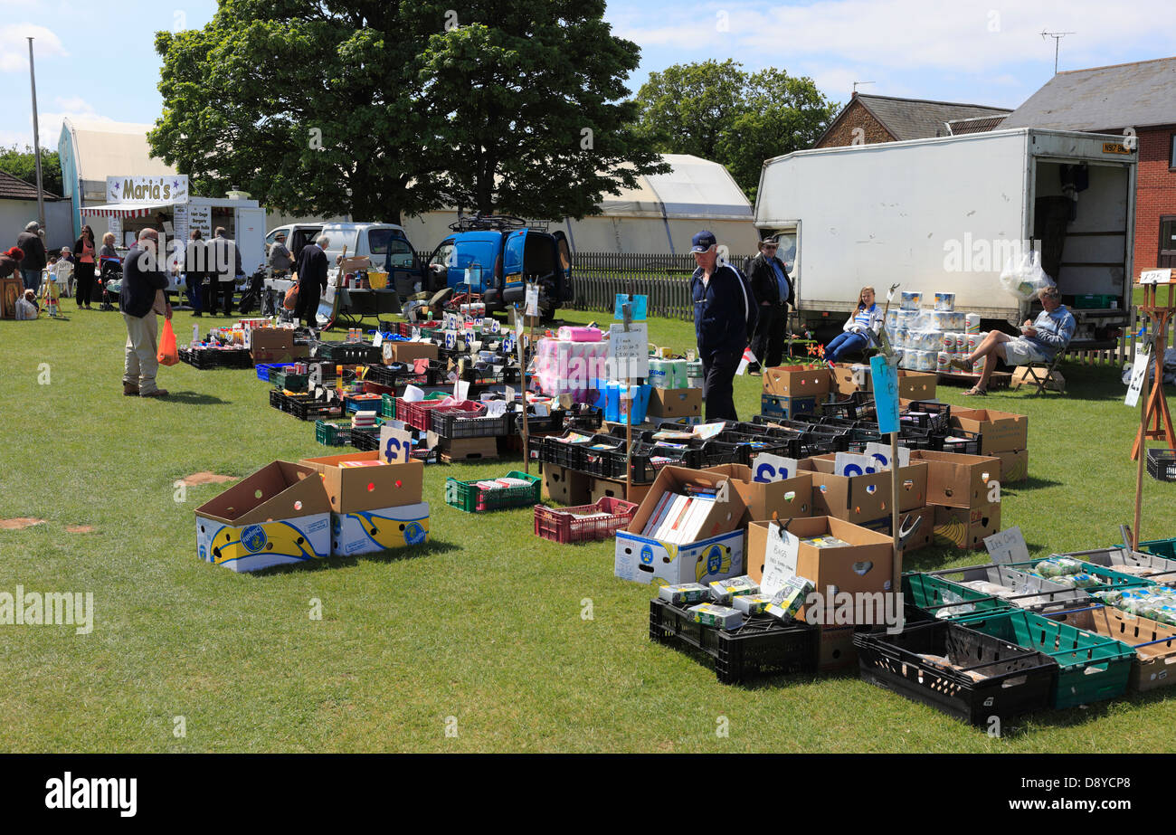 Car boot sale at hunstanton on a sunday morning stock image