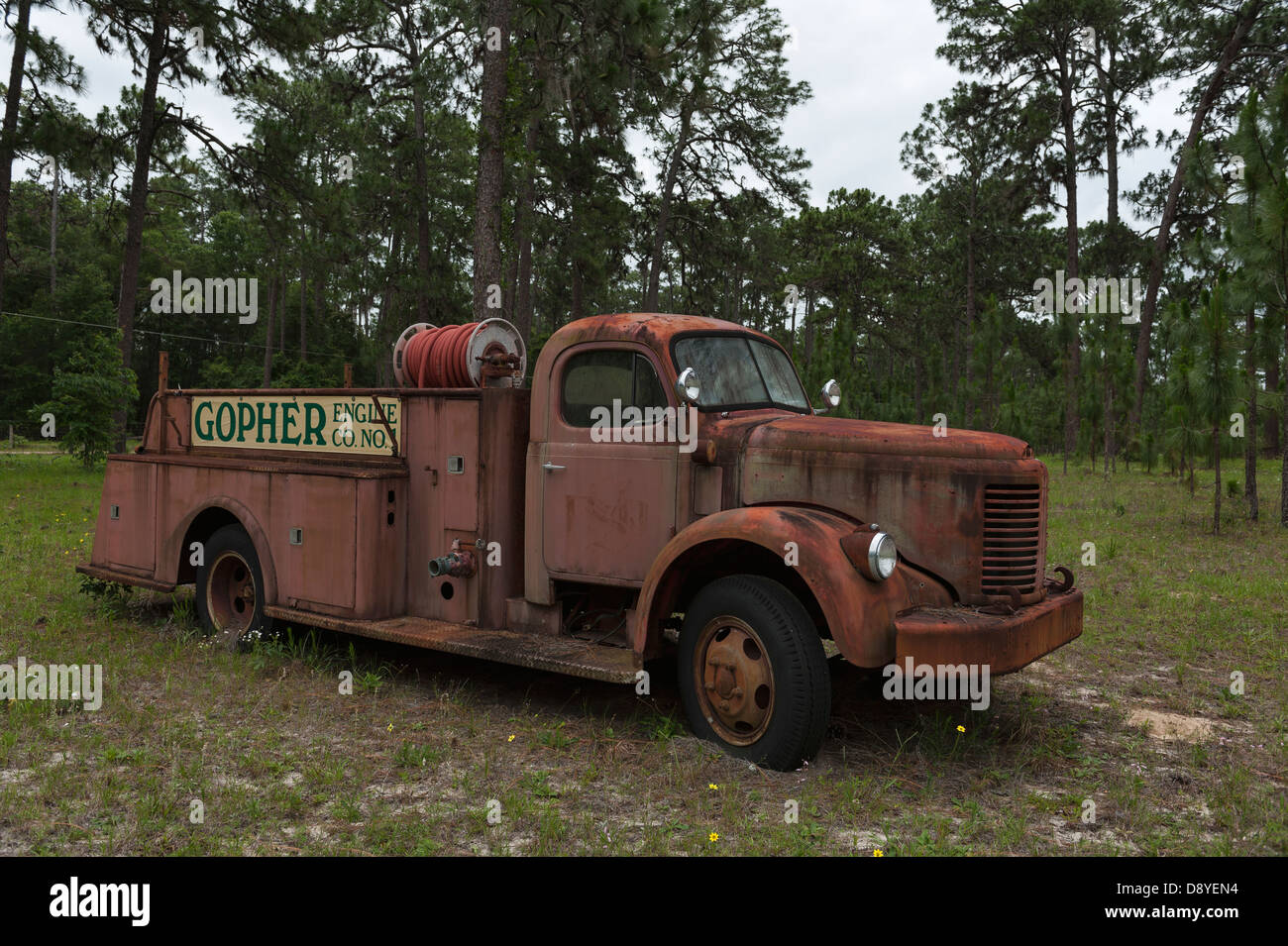 antique fire truck parked along the roadside in marion county stock photo royalty free image. Black Bedroom Furniture Sets. Home Design Ideas