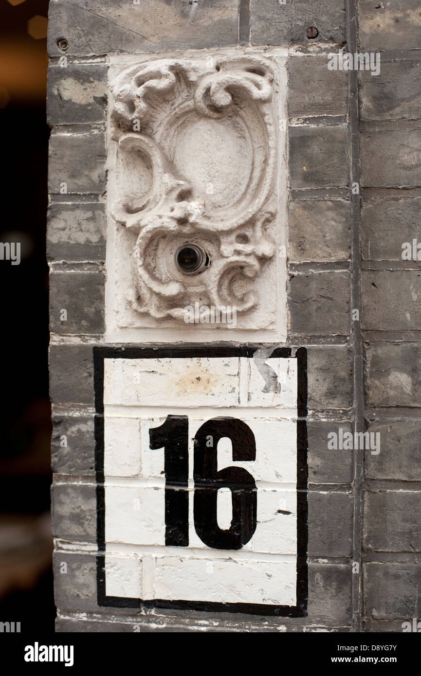 House no number 16 sign bell white black ornate stock for Number 16 house
