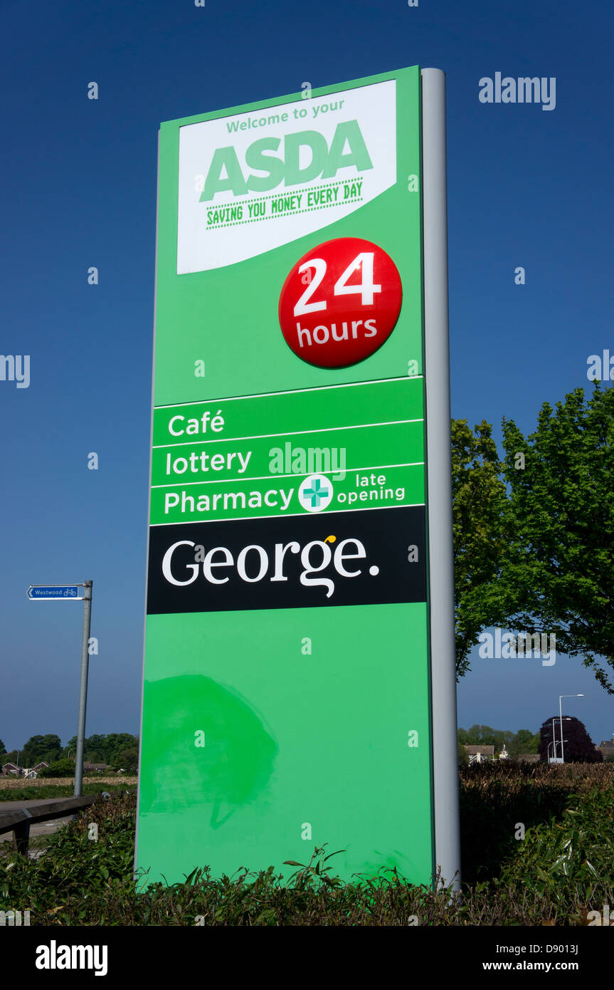 colouring books for adults asda : A Green Asda Supermarket Sign Stock Image