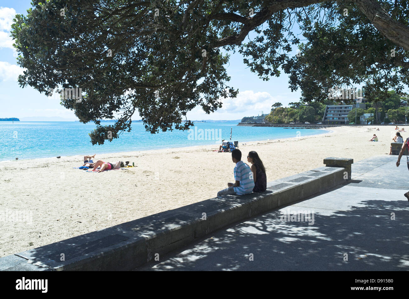 Dh mission bay auckland new zealand couple sitting on - Mission bay swimming pool auckland ...