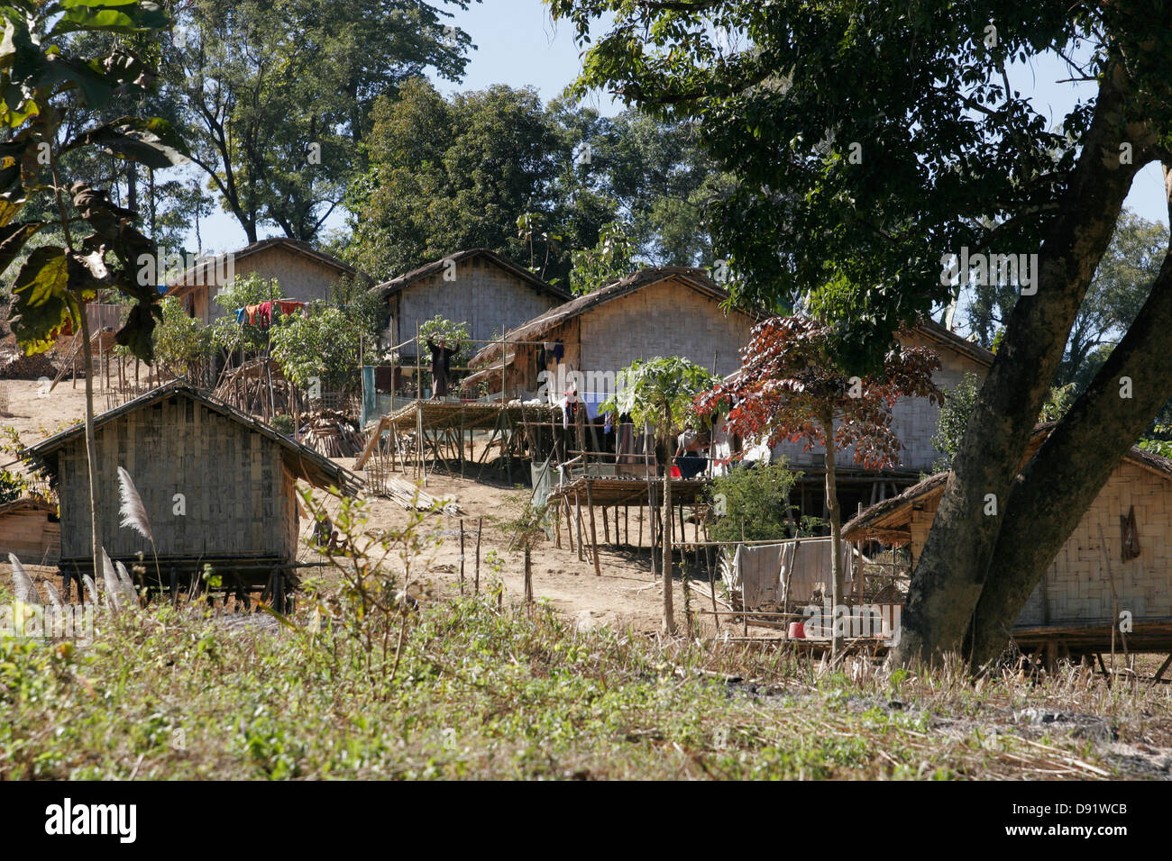 Bamboo houses in the tribal village chittagong hill for Bangladeshi house image