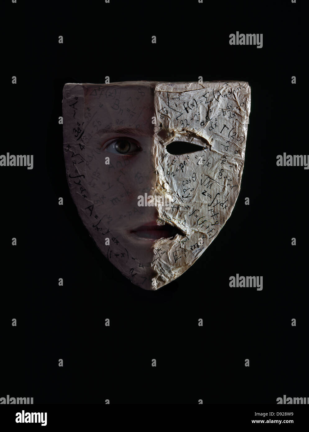 Greek tragedy style theatrical mask covered in mathematical greek tragedy style theatrical mask covered in mathematical symbols and with one eye looking out against black background biocorpaavc