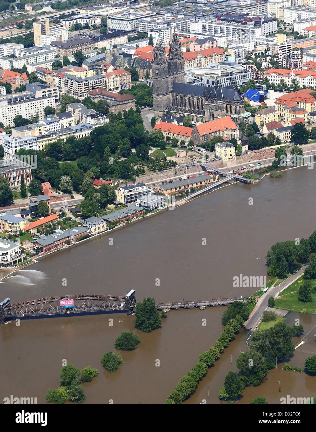 The High Water Level Of The Elbe River Is Visible In Magdeburg - Elbe river