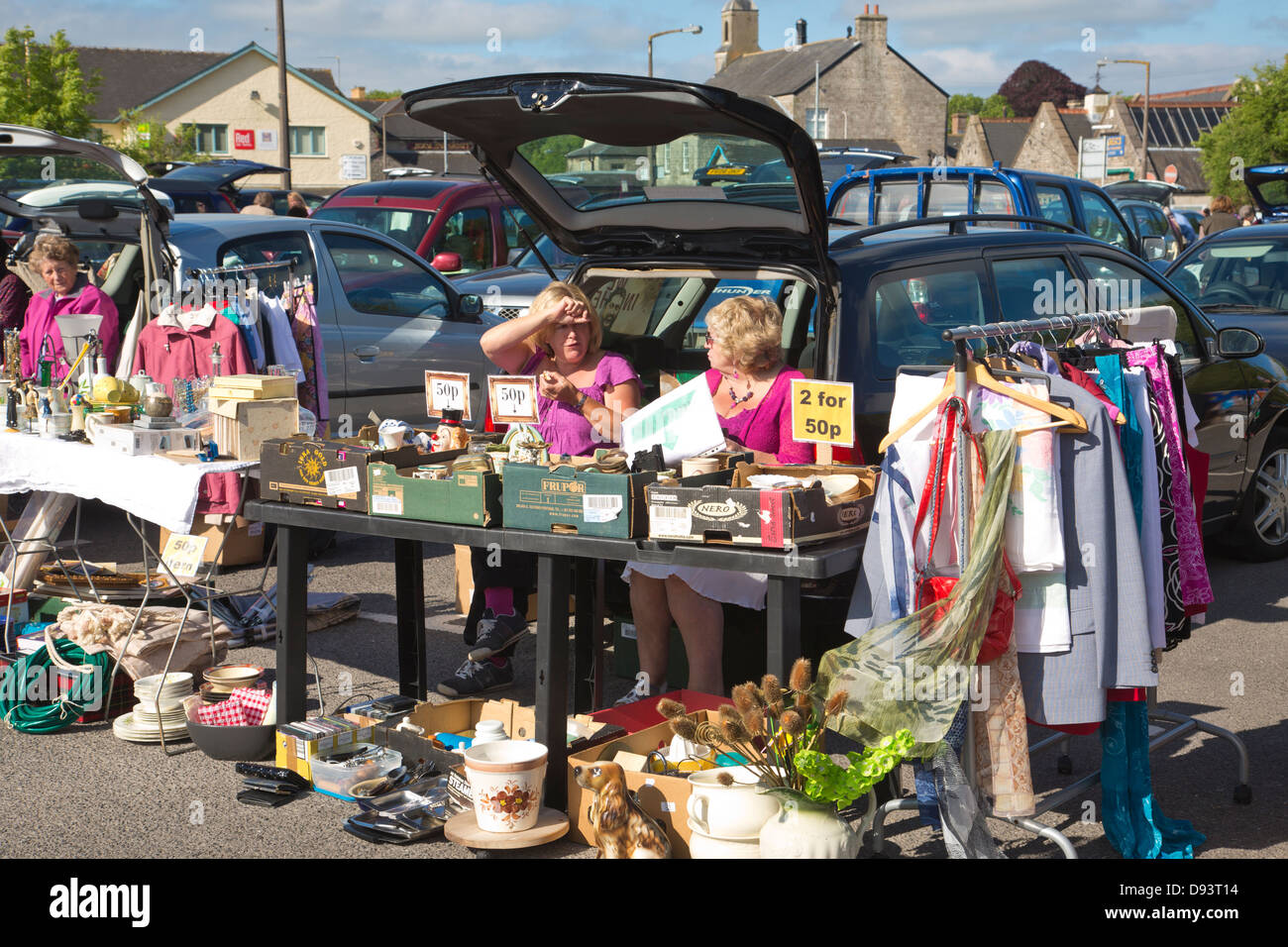 People selling items at a car boot sale in cowbridge south wales united kingdom