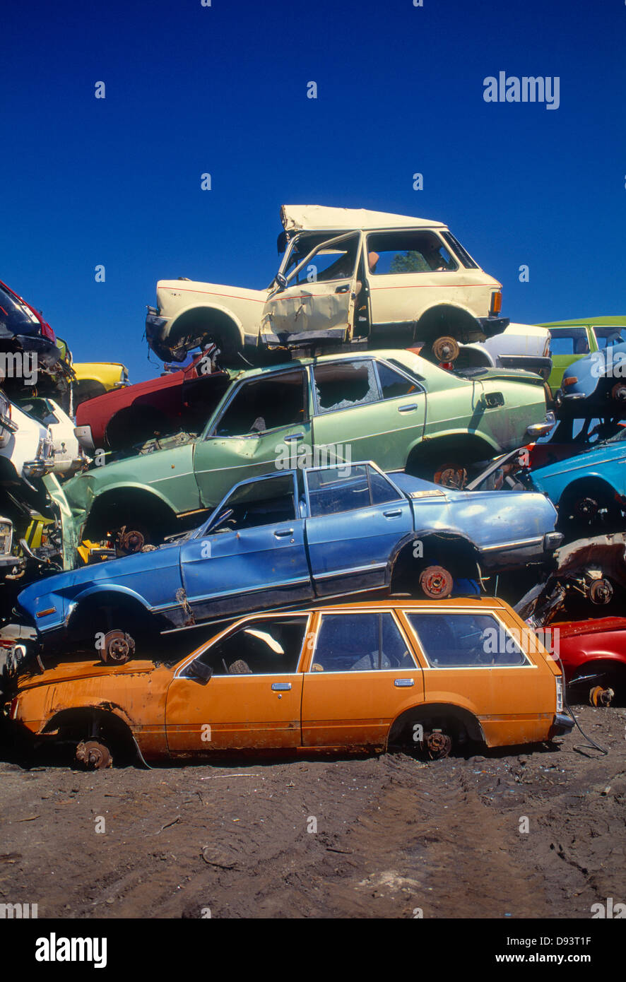Stack of wrecked cars in junkyard Stock Photo, Royalty Free Image ...