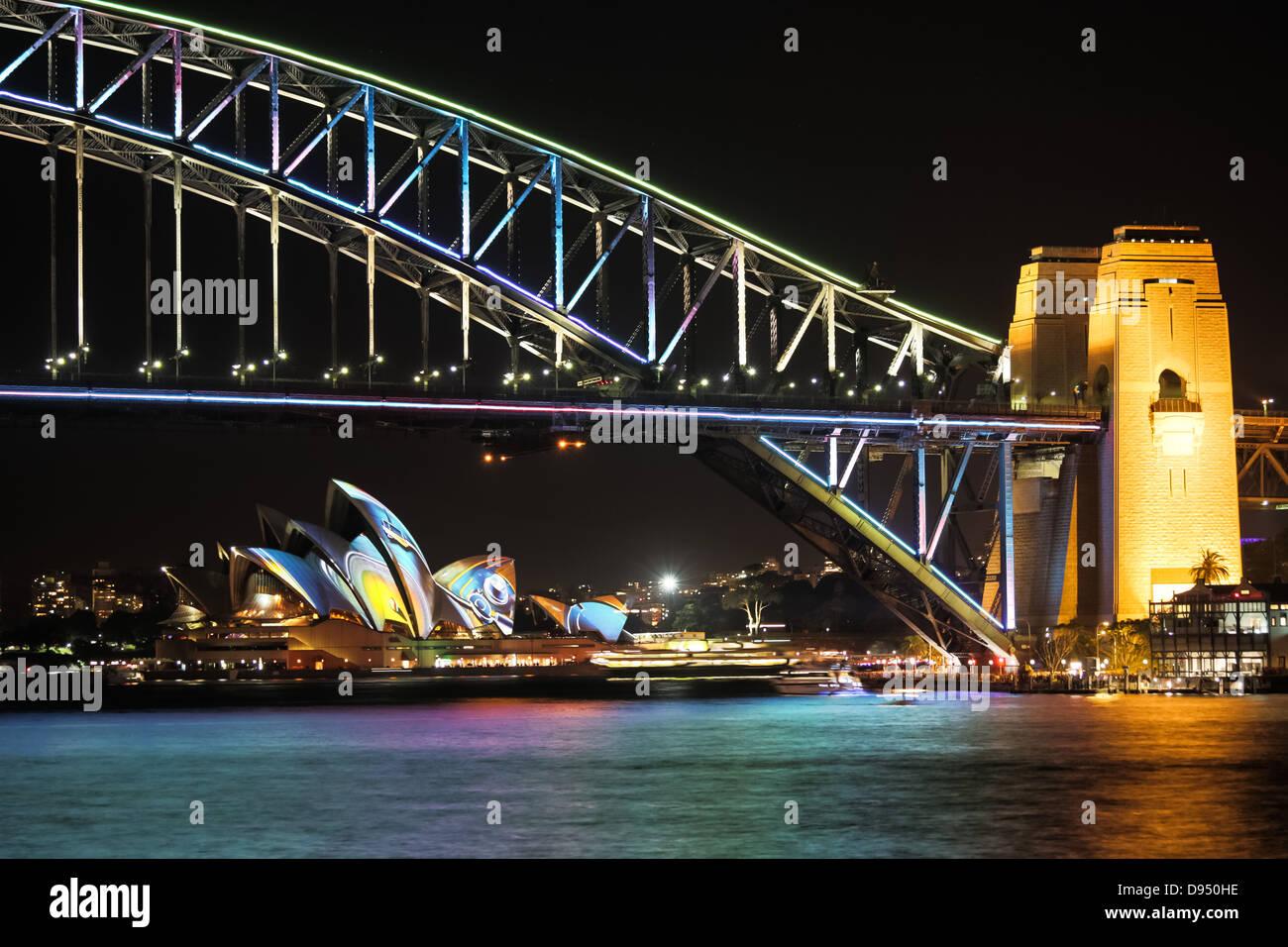 Sydney opera house and harbour bridge - Stock Photo Sydney Harbour Bridge And Sydney Opera House At Night During The Annual Sydney Lighting Festival Vivid