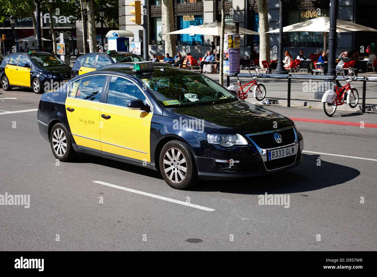Black and yellow taxi cab in barcelona city centre catalonia spain stock photo royalty free - Cab in barcelona ...