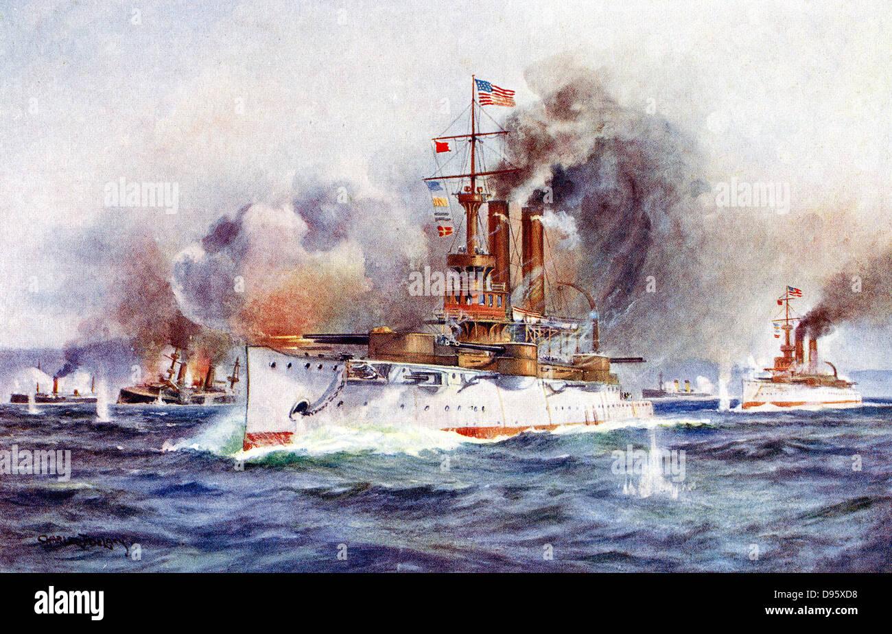spanish american war 1898 destruction of the spanish fleet outside stock photo royalty free. Black Bedroom Furniture Sets. Home Design Ideas