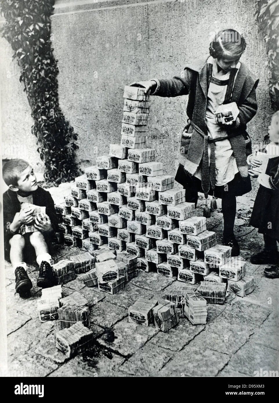 Hyperinflation of German currency, 1923. The depreciation ...