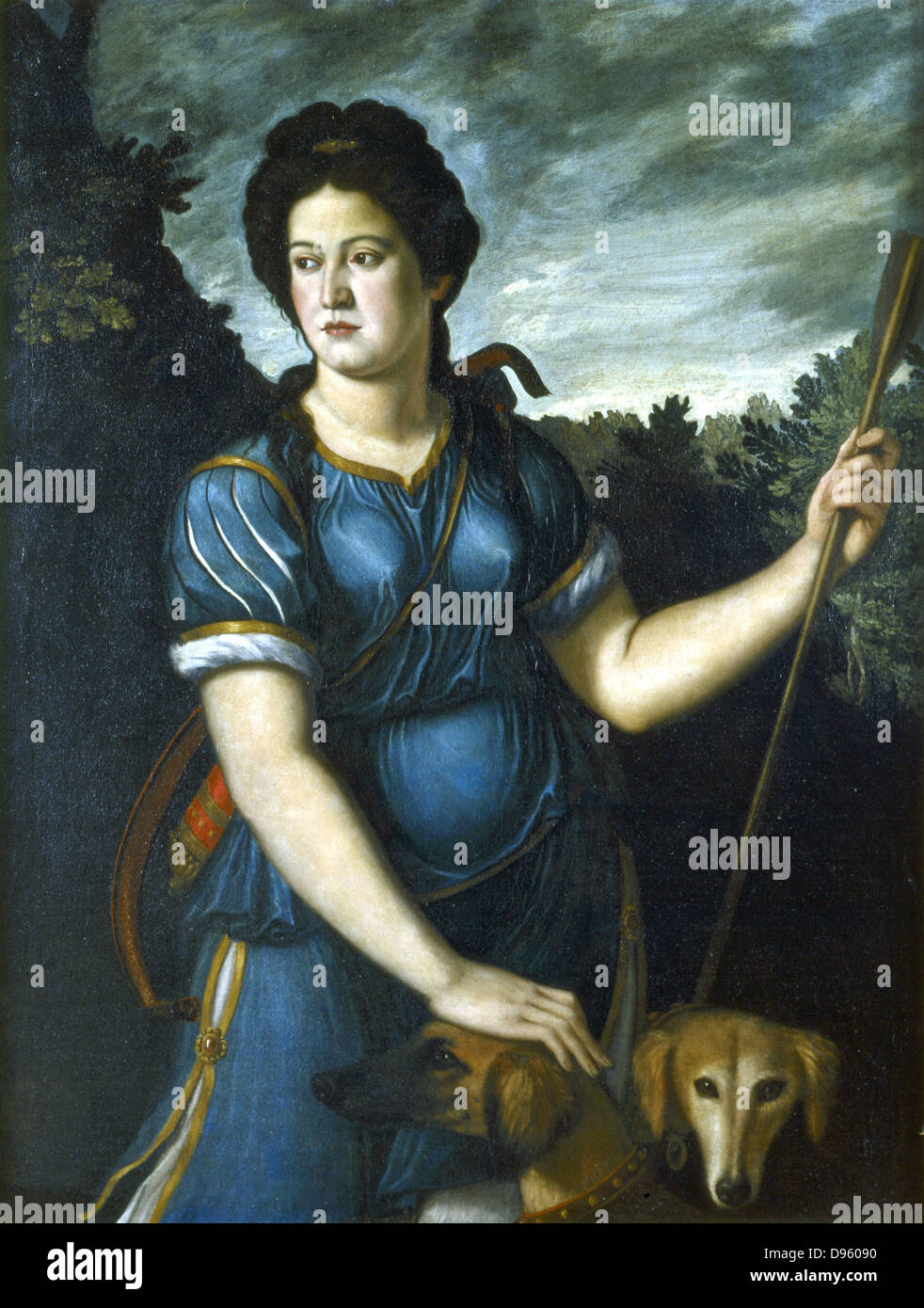 diana the huntress with her two dogs u0027 roman goddess of the moon