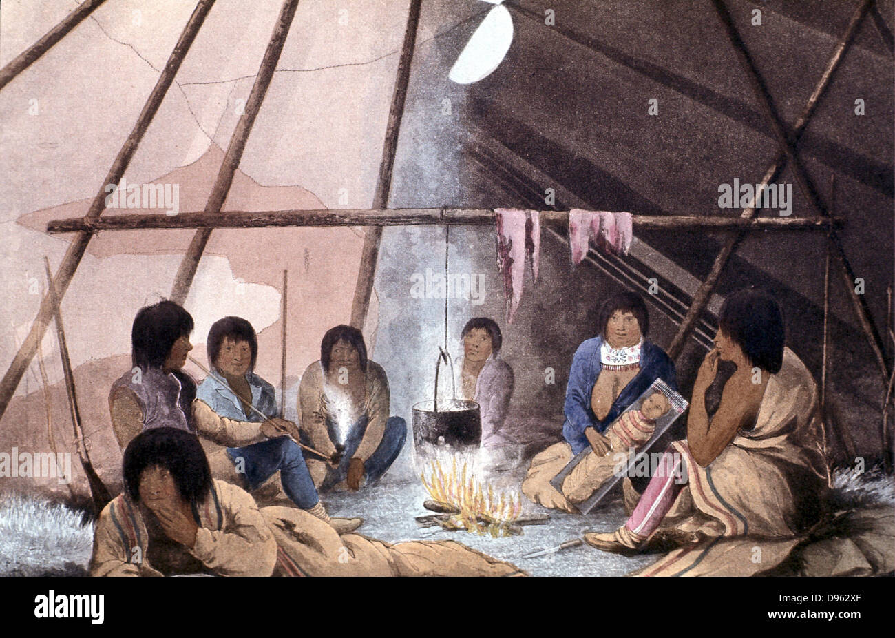 Interior of Cree Indian tent. Man smoking Papoose in u0027cradleu0027 Cooking pot suspended over fire. From John Franklin u0027Narrative & Interior of Cree Indian tent. Man smoking: Papoose in u0027cradle ...
